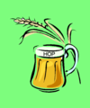 logo of beer mug and grain